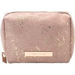 Golden Shimmer Travel Makeup Cube Organizer Bag in Pink Splatter
