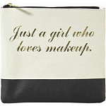 Just a Girl Who Loves Makeup Gold Printed Travel Makeup Flat Clutch