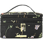 Perennial Blooms Double Zip Train Case with Embroidered Flowers