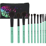 Aurora Lights - 10 Piece Brush Set with Cosmetic Bag