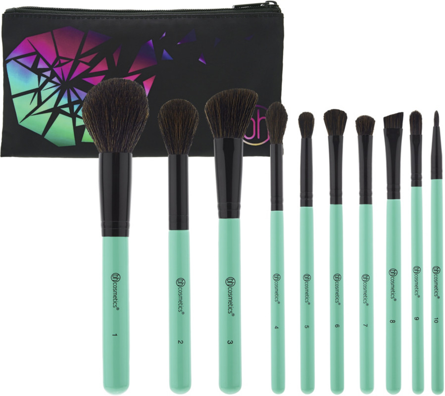 Aurora Lights   10 Piece Brush Set With Cosmetic Bag by Bh Cosmetics