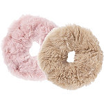 Blush/Pink Faux Fur Scrunchies 2 Ct