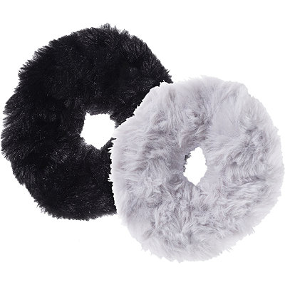 Black/Grey Faux Fur Scrunchies 2 Ct