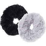 Kitsch Black/Grey Faux Fur Scrunchies 2 Ct