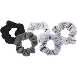 Velvet Scrunchies Black/Grey 5 Ct