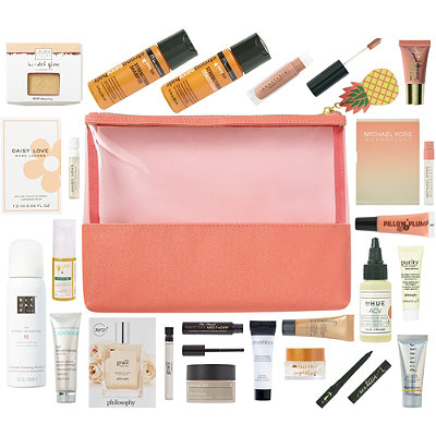 FREE 21 Pc Pineapple Beauty Bag with any $75 online purchase