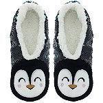 Sequin Penguin Slipper Sock M/L