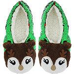 Sequin Reindeer Slipper Socks S/M