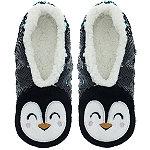 Sequin Penguin Slipper Socks S/M