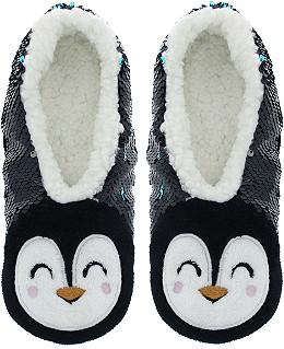 2b26bf2ece805 Capelli New York Sequin Penguin Slipper Socks S M
