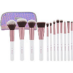 BH Cosmetics Online Only Crystal Quartz - 12 Piece Brush Set with Cosmetic Bag