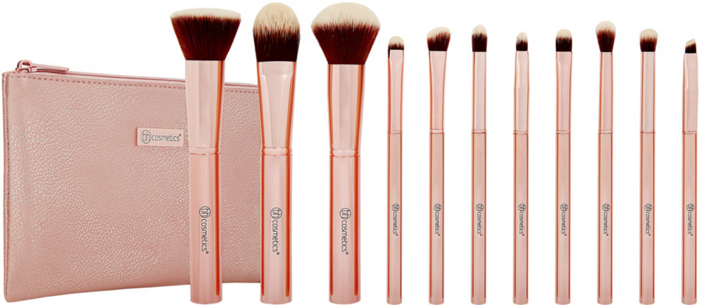Online Only Metal Rose   11 Piece Brush Set With Cosmetic Bag by Bh Cosmetics