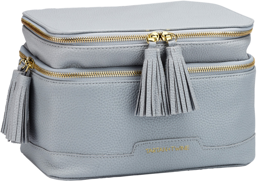 Elevated Gray Double Zip Cosmetic Box by Tartan + Twine