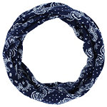Capelli New York 6'' Wide Blue Paisley And Stars Printed Wide Jersey Head Wrap