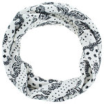 Capelli New York 6'' Wide White Paisley And Stars Printed Jersey Head Wrap