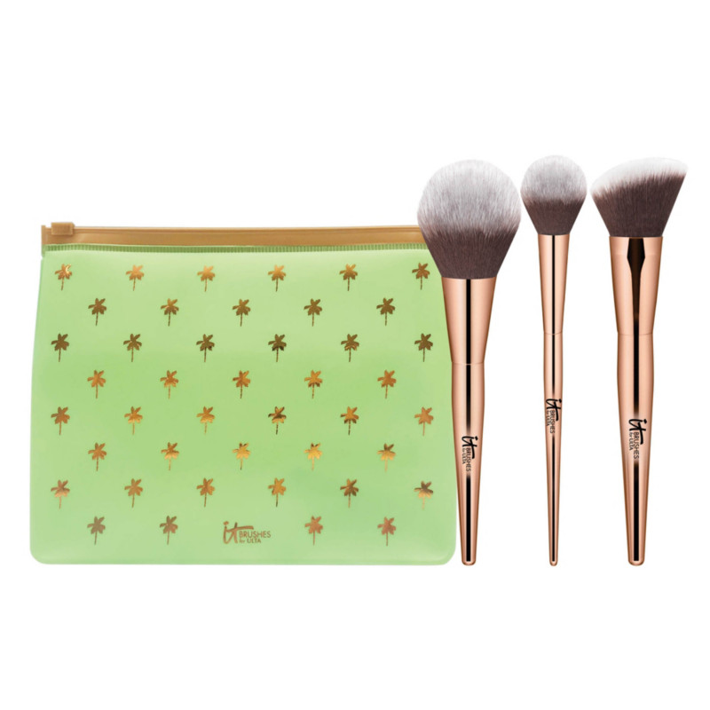 Your Desert Island Must Haves 3 Piece Complexion Brush Set + Makeup Bag by It Brushes For Ulta