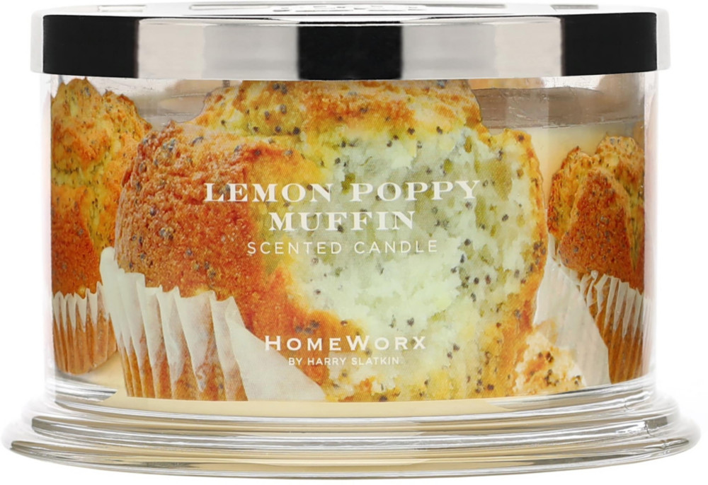 Lemon Poppy Muffin 4 Wick Candle by Home Worx