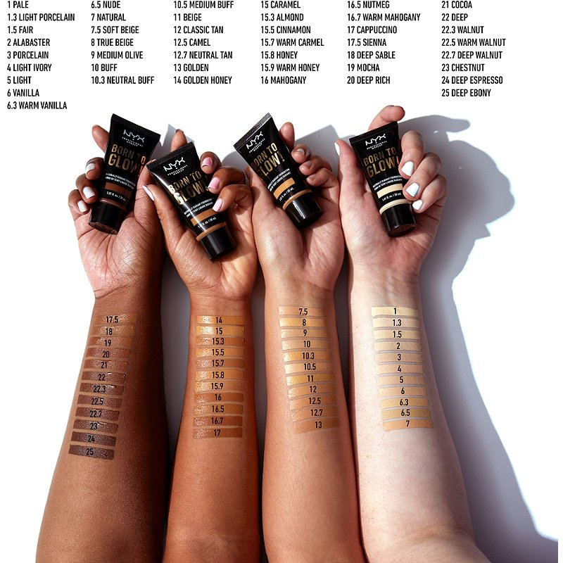 nyx born to glow foundation shades