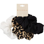 Riviera Mix Solid/Print Animal Scrunchies