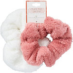 Riviera Pink And White Plush Scrunchie Set