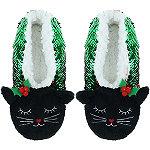 Capelli New York Reversible Cat Sequin Pull-On Slipper Socks