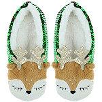 Capelli New York Reindeer Sequin Pull-On Slipper Socks