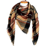 David And Young Plaid Scarf With Self Fringe