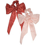 Kitsch Scarf Scrunchies With Tails In Blush and Rust