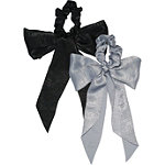 Kitsch Scarf Scrunchies With Tails In Black/Grey