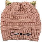 David And Young Kitty Ears Halo Ribbed Beanie