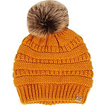 David And Young Mustard Lined Beanie With Pom