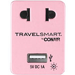 Conair Travelsmart Pink Adapter Plug with USB