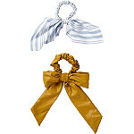 Scünci Leather And Stripe Bow Scrunchie