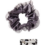 Scünci Satin Scrunchie with Tulle Trim