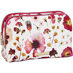 Tartan + Twine Fushsia Pressed Floral Duo Zip Beauty Clutch