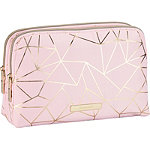 Tartan + Twine Gold Foil Pink Geo Duo Zip Beauty Clutch
