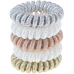Capelli New York Metallic Covered Phone Cord Ponies