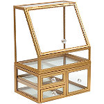Sorbus Gold Makeup Organizer Display Case 2-Piece Stackable Design with Lid Closure and Drawers