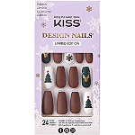 Kiss Candy Cane Design Holiday Nails