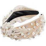 Riviera Pearl & Gem Velvet Top Knot Headband