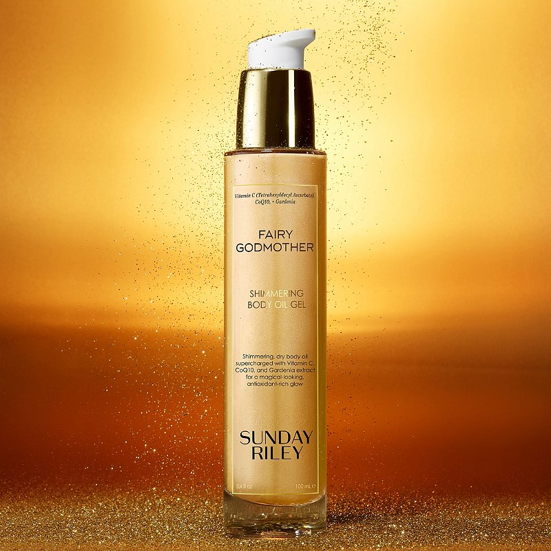 Informative Image of Sunday Riley's body oil for glowing skin.