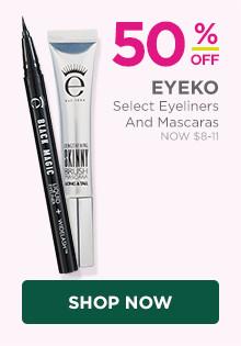 50% off select Eyeko eyeliners & mascaras, now $8-$11, regular $16-$22.