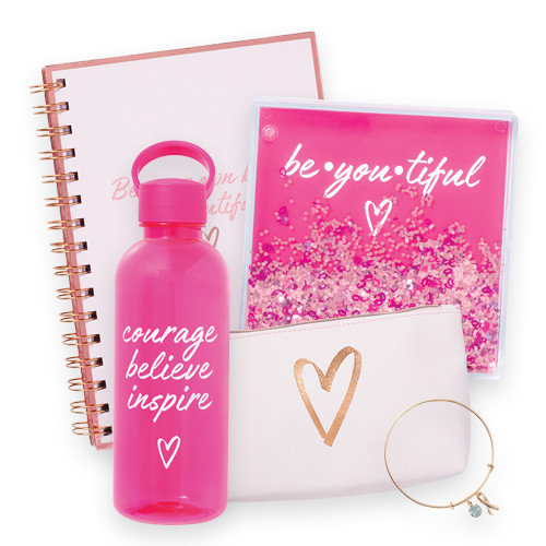Words of Inspiration Notebook, Fierce Heart Cosmetic Bag,  Love & Light Jewelry Set, Let Your Sparkle Show Picture Frame, Courage, Believe and Inspire Water Bottle goup picture