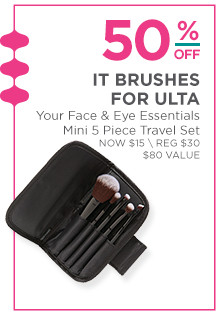 50% off IT Brushes for Ulta Your Face & Eye Essentials Mini 5-Piece Travel Set. Now $15, regular $30. A $80 value.