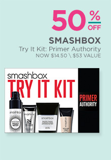 50% off Smashbox's Primer Authority: Try It kit, regular $29. A $53 value.