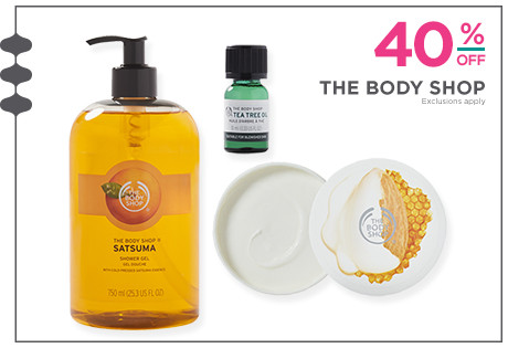 40% off The Body Shop products. Excludes clearance; sets; holiday travel-size products; travel-size butters, hand creams, scrubs, shower gels & masks.