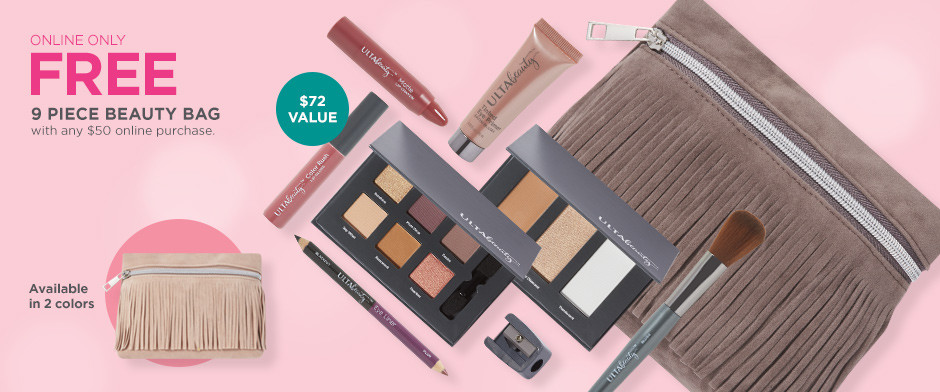 Online Only! Free 9-piece gift with any $50 ulta.com purchase. A $72 value. Bag is available in 2 colors.