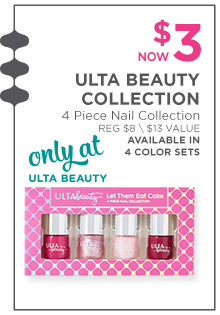 Ulta Beauty 4-Piece Nail Collection is now $2.99, regular $8. Available in 4 color sets only at Ulta Beauty!