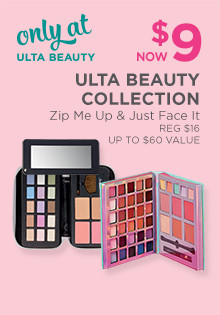 Ulta Collection Just Face It & Zip Me Up Palette is now $9, regular $16. Up to $60 Value and is only available at Ulta Beauty.