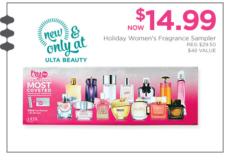 New & Only at Ulta Beauty! Holiday Women's Fragrance Sampler is now $14.99, regular $29.50. A $46 Value.